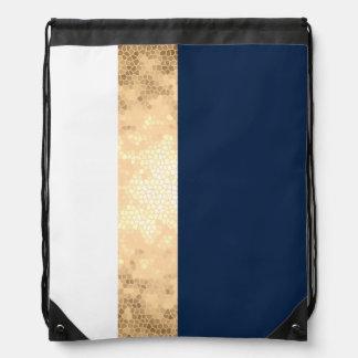 elegant faux gold, navy blue, white stripes drawstring bag