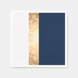 elegant faux gold, navy blue, white stripes paper napkins