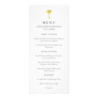 Elegant Faux Gold Palm Tree Wedding Menu | Green