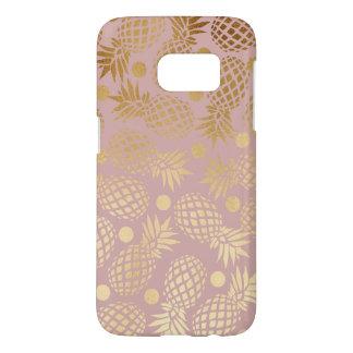 elegant faux gold pineapple pattern polka dots