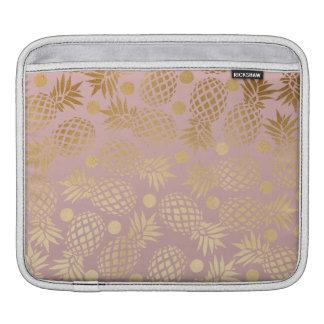 elegant faux gold pineapple pattern polka dots iPad sleeve