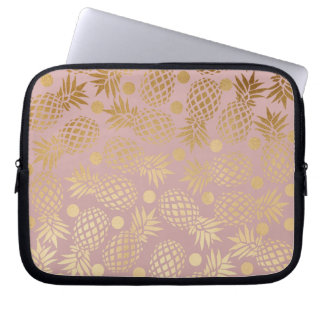 elegant faux gold pineapple pattern polka dots laptop sleeve
