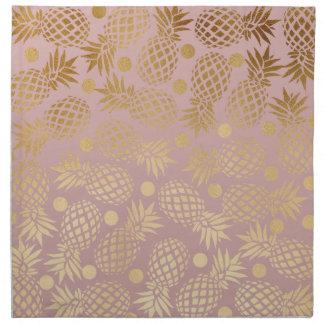 elegant faux gold pineapple pattern polka dots napkin