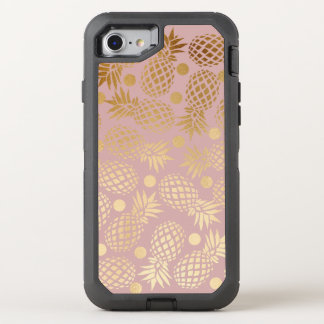 elegant faux gold pineapple pattern polka dots OtterBox defender iPhone 8/7 case