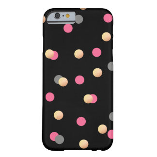 elegant faux gold pink grey confetti dots pattern barely there iPhone 6 case