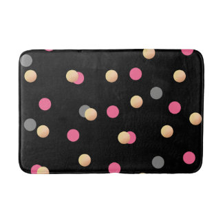elegant faux gold pink grey confetti dots pattern bath mat