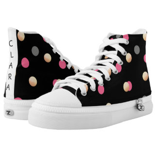 elegant faux gold pink grey confetti dots pattern high tops