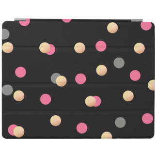 elegant faux gold pink grey confetti dots pattern iPad cover