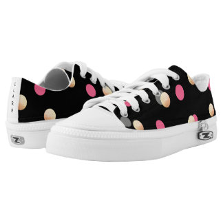 elegant faux gold pink grey confetti dots pattern low tops