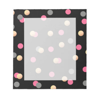 elegant faux gold pink grey confetti dots pattern notepad