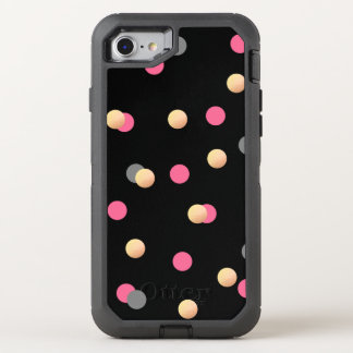 elegant faux gold pink grey confetti dots pattern OtterBox defender iPhone 8/7 case