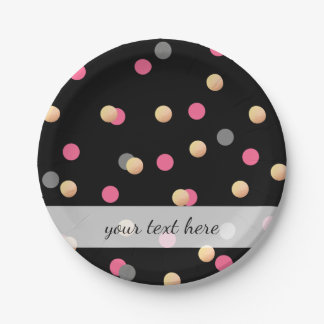elegant faux gold pink grey confetti dots pattern paper plate