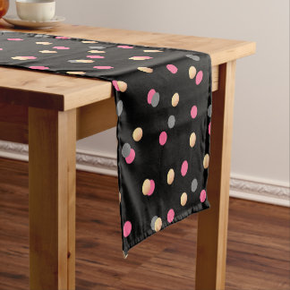 elegant faux gold pink grey confetti dots pattern short table runner