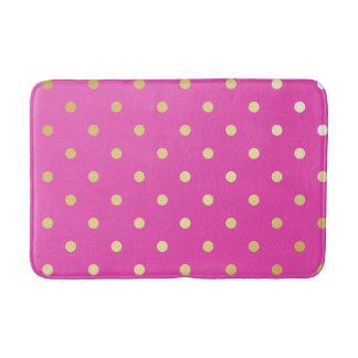 elegant faux gold pink polka dots bath mat
