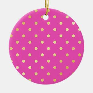 elegant faux gold pink polka dots ceramic ornament