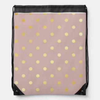 elegant faux gold pink polka dots drawstring bag