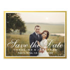 Elegant Faux Gold Script Save The Date with Photo Postcard
