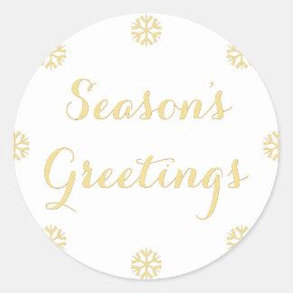 Elegant Faux Gold Seasons Greetings Snowflakes Classic Round Sticker