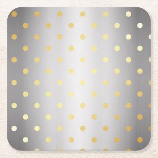 elegant faux gold silver polka dots square paper coaster