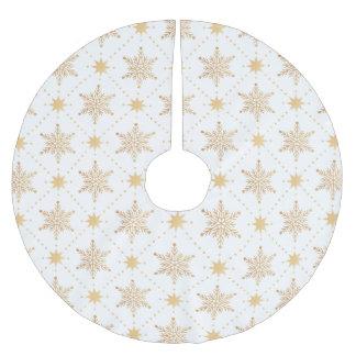 Elegant Faux Gold Snowflakes Christmas Patttern Brushed Polyester Tree Skirt