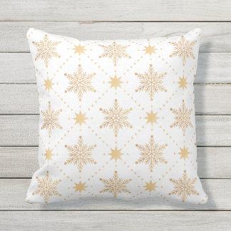 Elegant Faux Gold Snowflakes Christmas Patttern Cushion