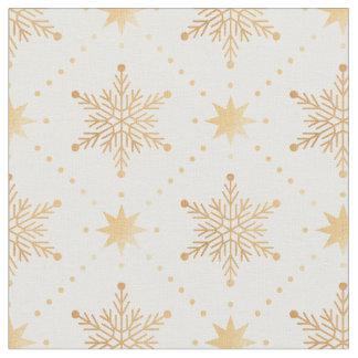 Elegant Faux Gold Snowflakes Christmas Patttern Fabric