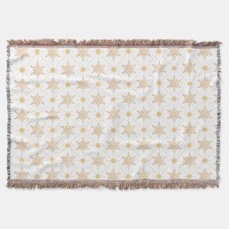Elegant Faux Gold Snowflakes Christmas Patttern Throw Blanket