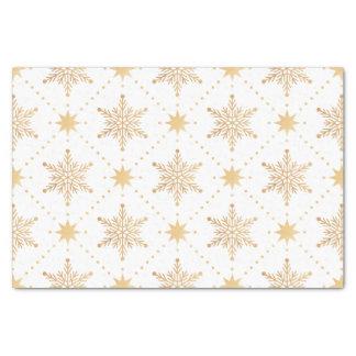 Elegant Faux Gold Snowflakes Christmas Patttern Tissue Paper