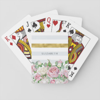 Elegant FAUX Gold Stripe With Pink Roses and Name Playing Cards