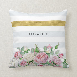 Elegant FAUX Gold Stripe With Pink Roses and Name Throw Pillow