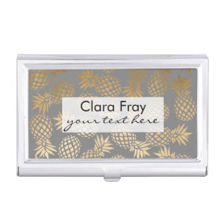 elegant faux gold tropical pineapple pattern business card holder