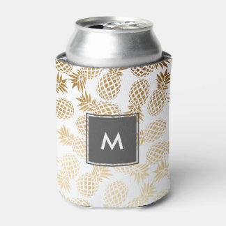 elegant faux gold tropical pineapple pattern can cooler