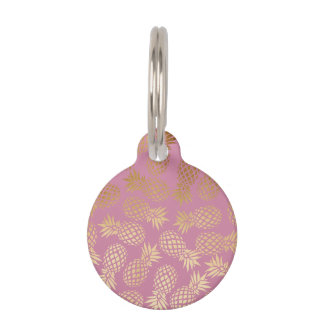 elegant faux gold tropical pineapple pattern pet name tag
