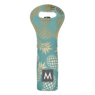 elegant faux gold tropical pineapple pattern wine bag