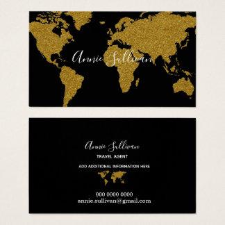 elegant faux gold world map black travel agent business card