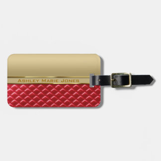 Elegant Faux Metallic Gold Quilted Red Leather Luggage Tag