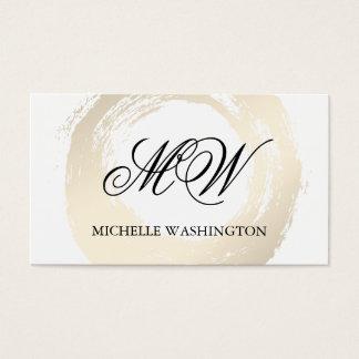 Elegant Faux Platinum Brushed Fancy Monogram Business Card