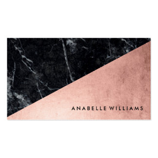 Elegant Faux Rose Gold and Black Marble Pack Of Standard Business Cards