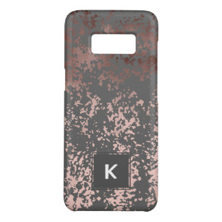 elegant faux rose gold and grey brushstrokes Case-Mate samsung galaxy s8 case