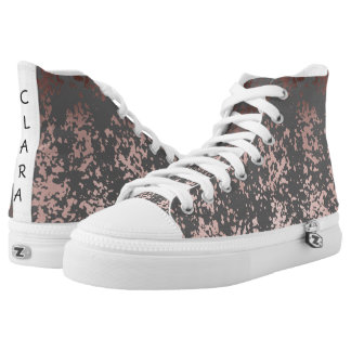 elegant faux rose gold and grey brushstrokes high tops