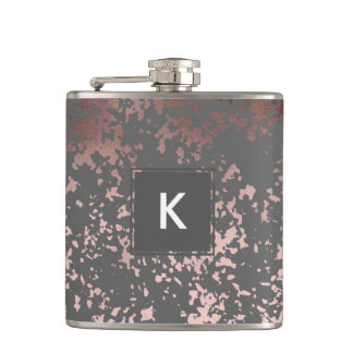 elegant faux rose gold and grey brushstrokes hip flask