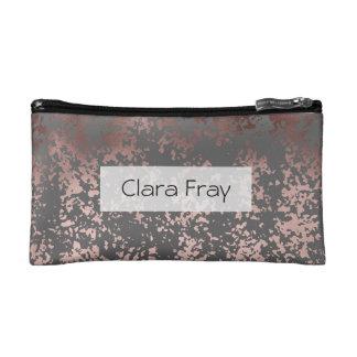 elegant faux rose gold and grey brushstrokes makeup bag