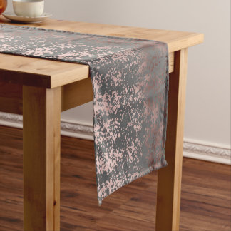 elegant faux rose gold and grey brushstrokes short table runner