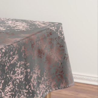 elegant faux rose gold and grey brushstrokes tablecloth