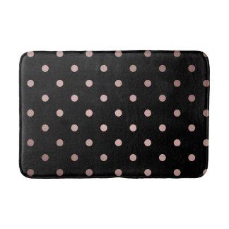 elegant faux rose gold black polka dots bath mat
