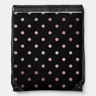 elegant faux rose gold black polka dots drawstring bag