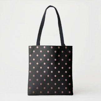 elegant faux rose gold black polka dots tote bag