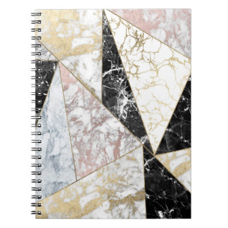 Elegant faux rose gold black white chic marble spiral note books