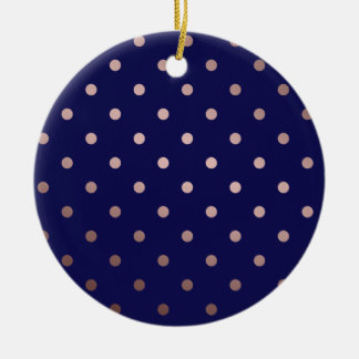 elegant faux rose gold blue polka dots ceramic ornament