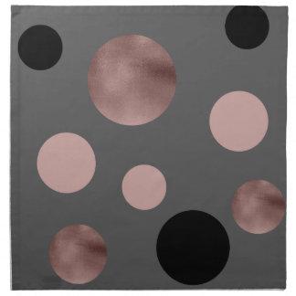 elegant faux rose gold blush pink black circles napkin